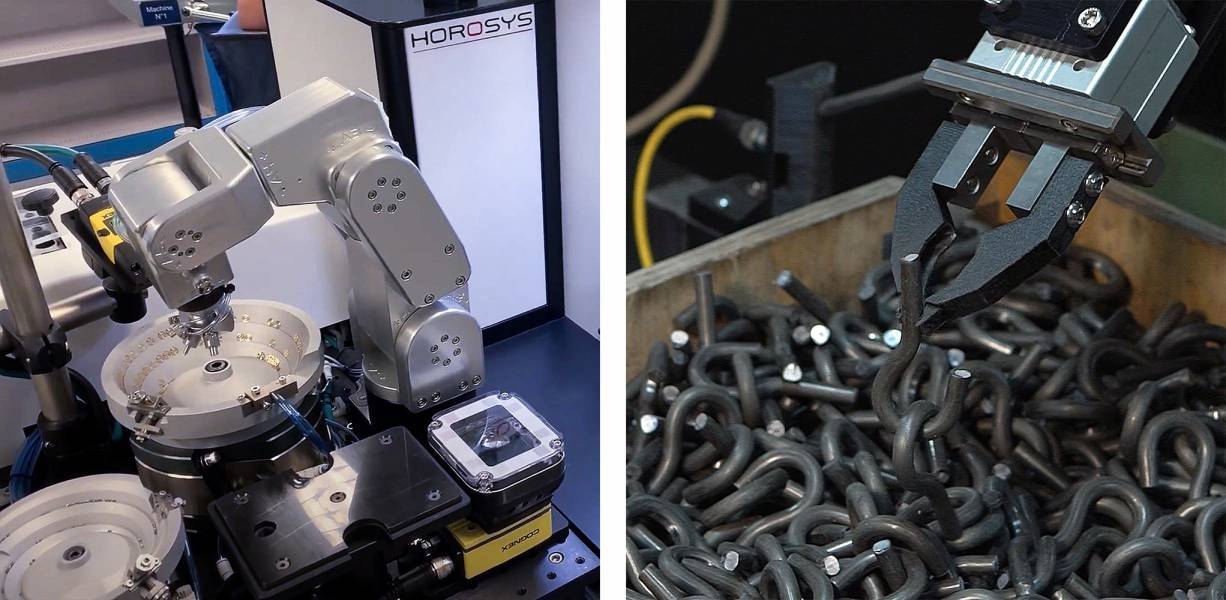 A simple vibratory bowl feeder used in a watchmaking application (left, image courtesy of Horosys) and an example of 3D bin picking (right, image courtesy of CapSen Robotics)