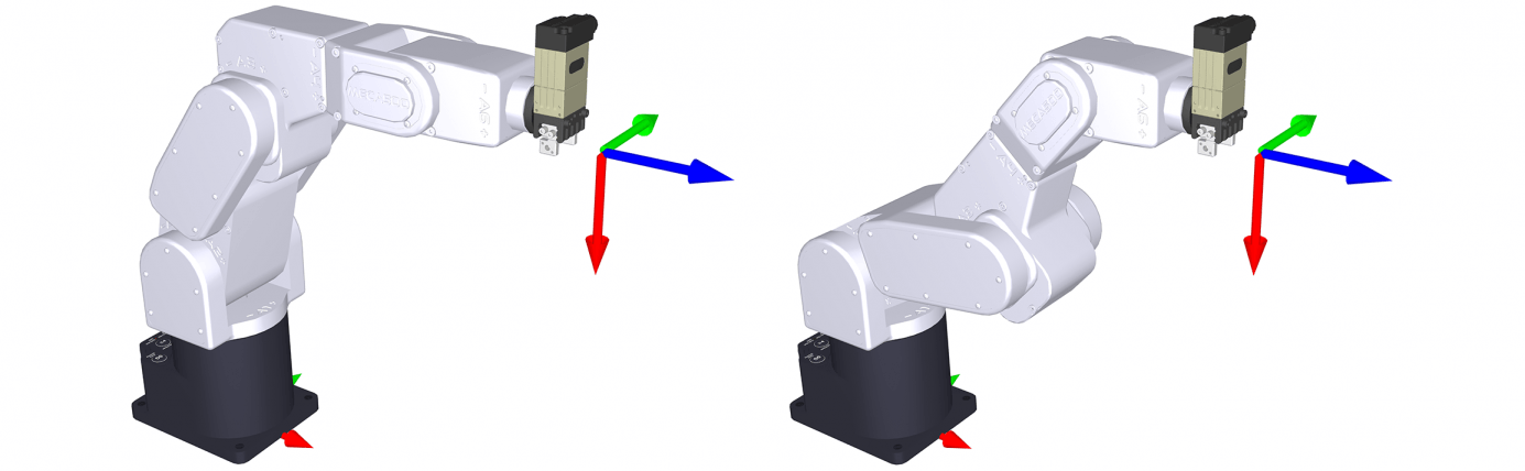 An end-effector pose corresponding to a singular (left) and a non-singular (right) robot configuration