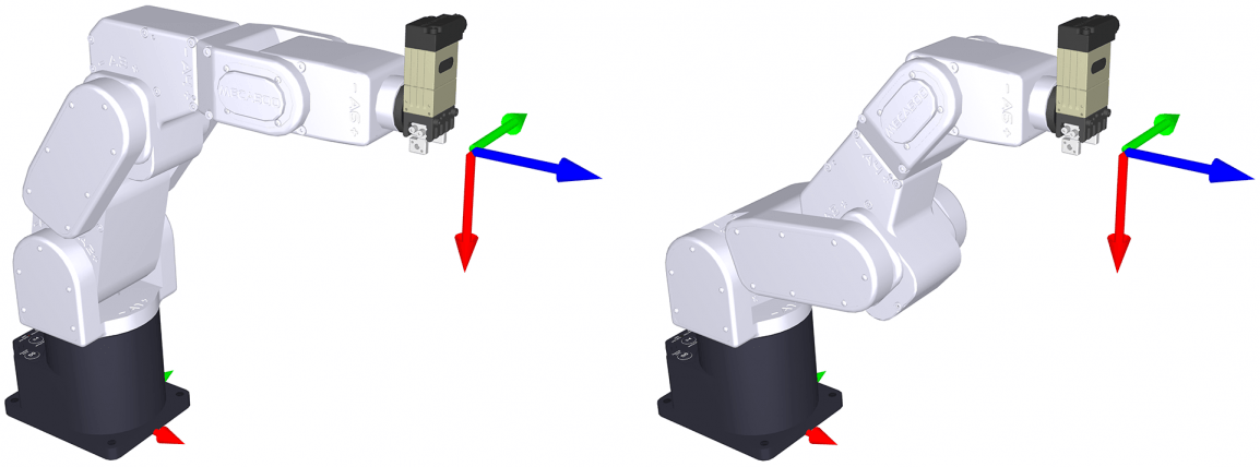 In this example, the same end-effector pose can be attained in two different robot configurations, but one of them is singular