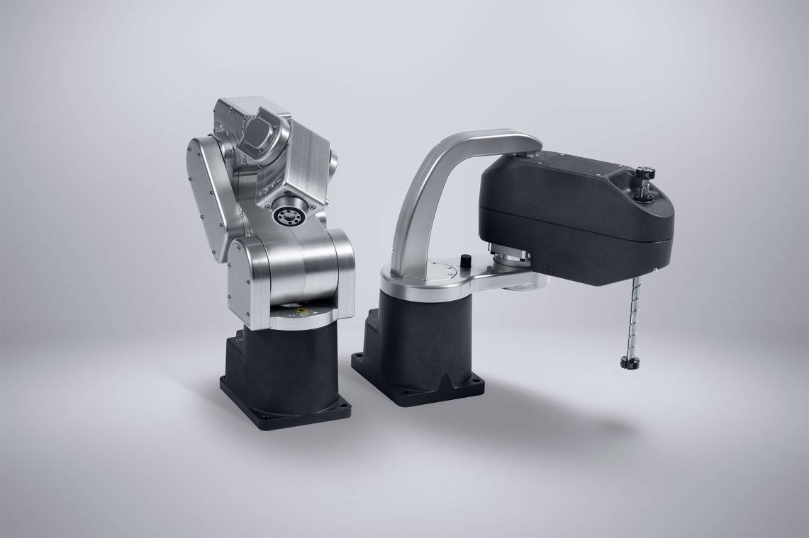A six-axis robot arm (left) and a SCARA robot (right) from Mecademic, with no tools