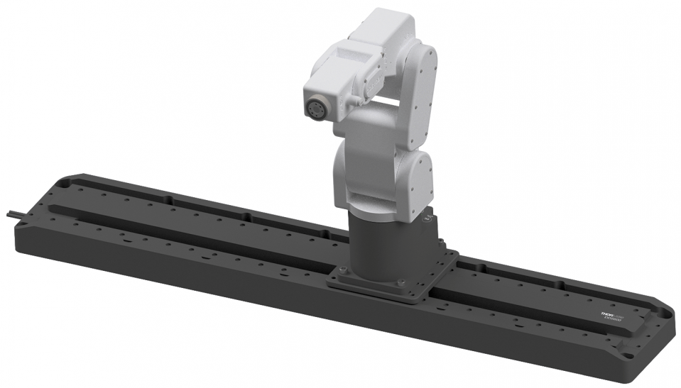 You can easily increase your robot's workspace by using a linear guide