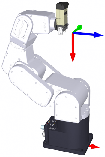 In this configuration, the robot can rotate its end-effector a lot