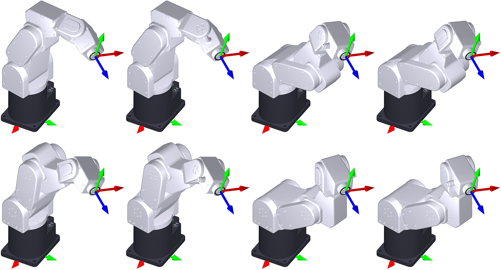 An example of an end-effector pose corresponding to eight different sets of joint positions