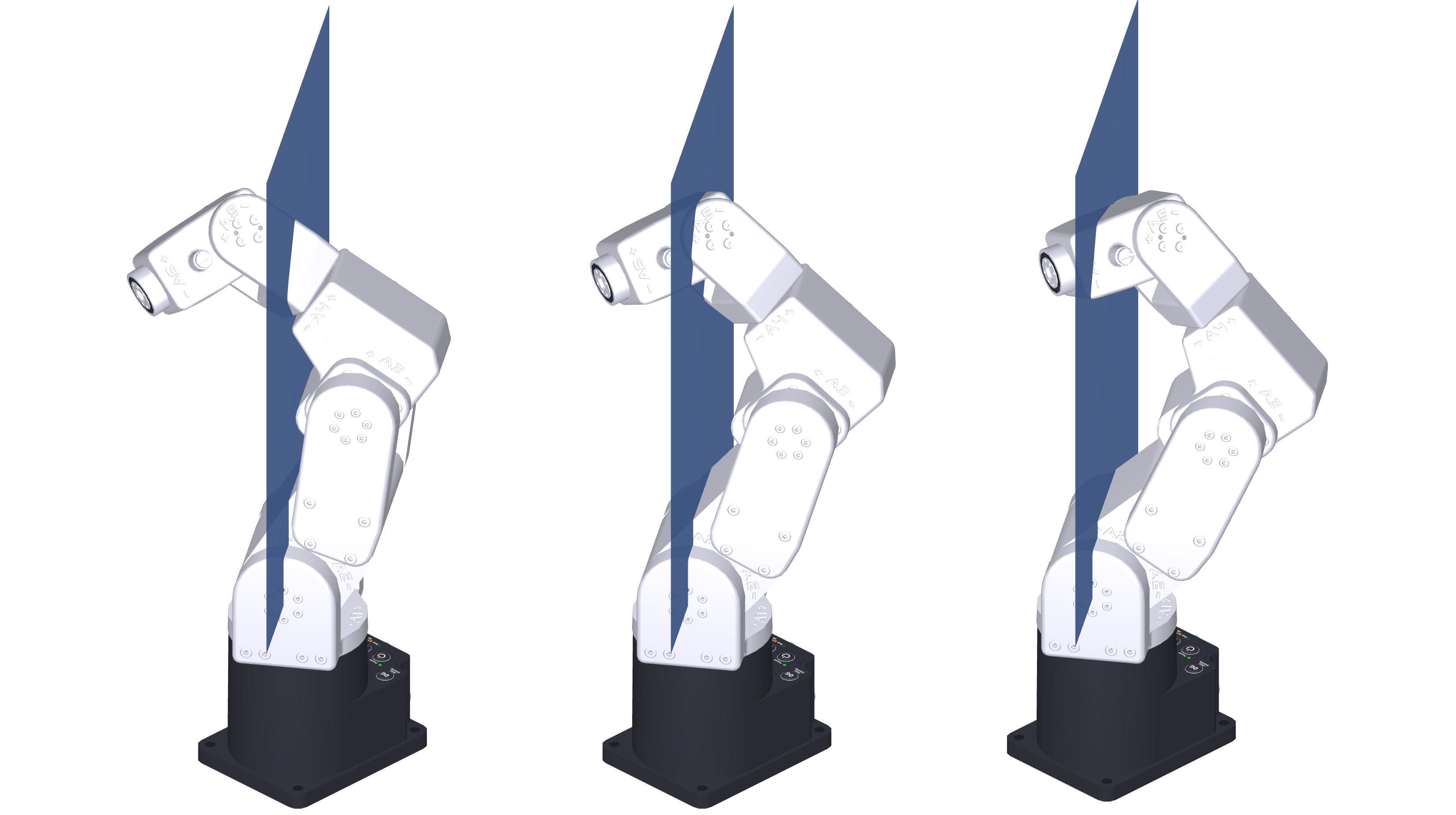 Shoulder singularity (center) and front (left) and back (right) conditions