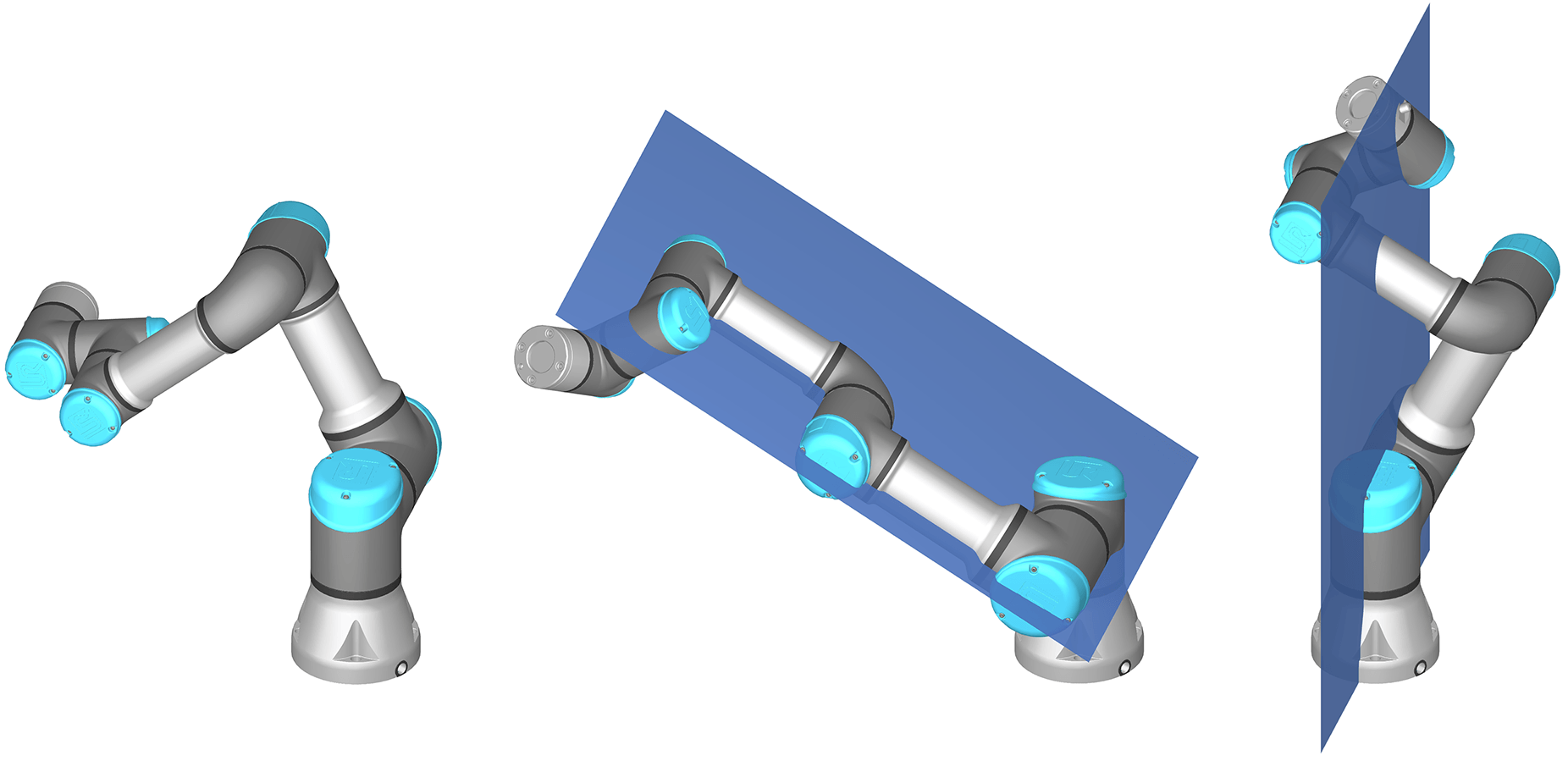 Types of singularity in the typical collaborative robot arm: wrist (left), elbow (center) and shoulder (right) singularities